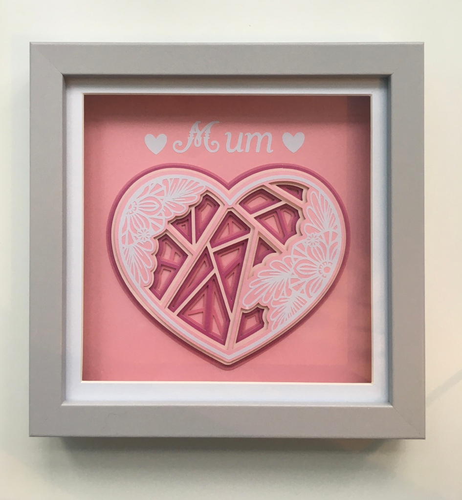 Pink 3D mandala heart  with mum text above on pink background within a grey frame