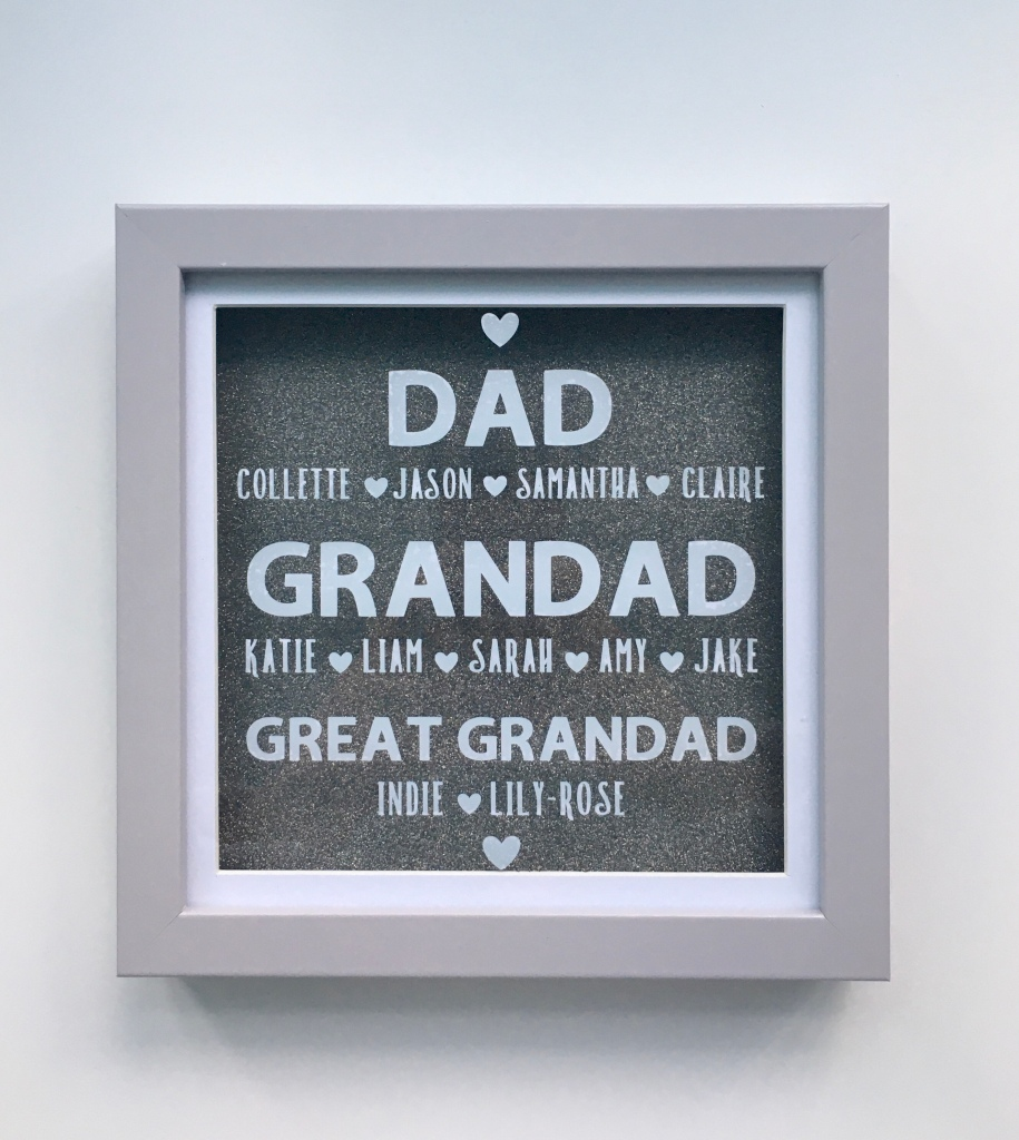 Personalised dad, grandad, great grandad text with children's names underneath on glitter background within a grey frame
