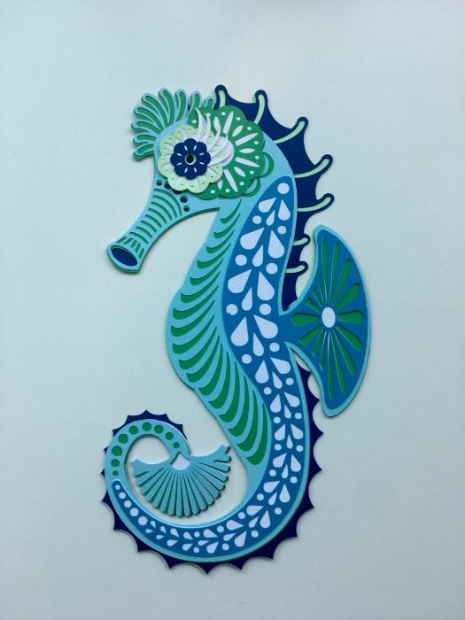 seahorse mandala in aqua colours