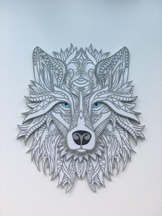 grey and white wolf mandala style