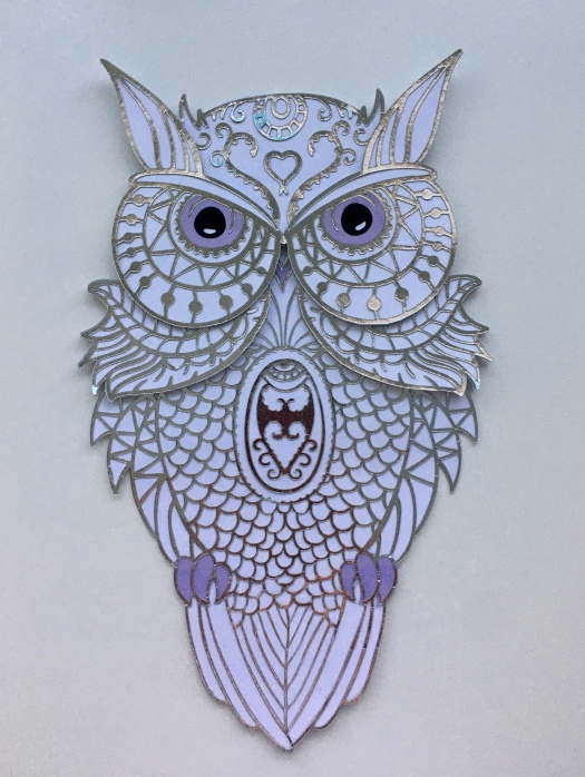silver, white and lilac mandala owl