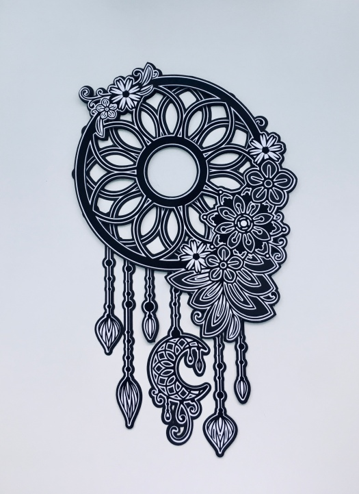 black and white dreamcatcher mandala style