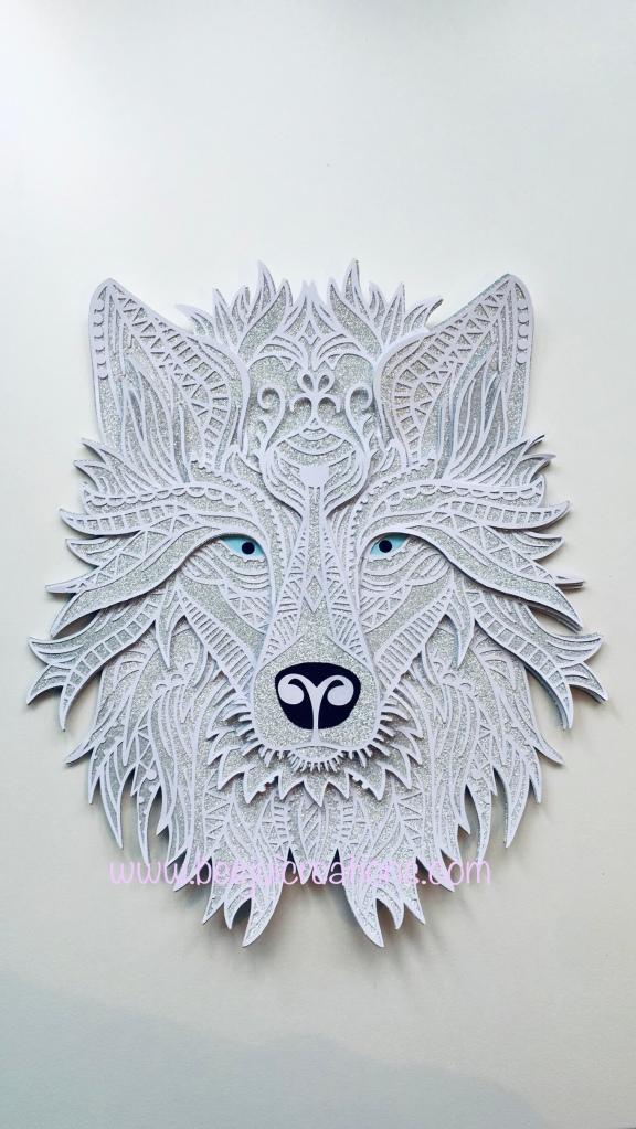 Silver glitter and white 3D layered mandala Wolf